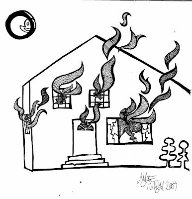 Image Gallery House On Fire Drawing