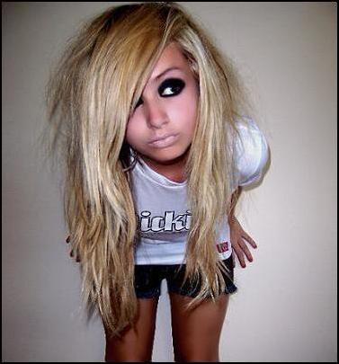 scene blonde hairstyles for girls. medium length hairstyle