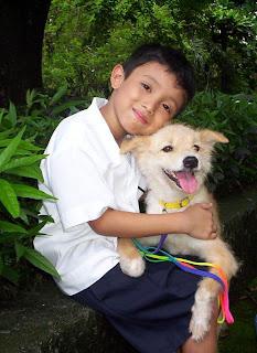 Former shelter dog Missy with JJ!