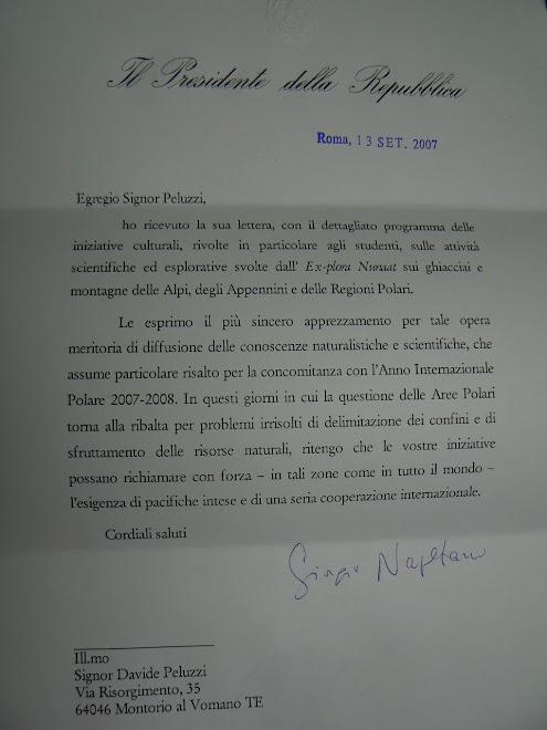 Lettera DEl Presidente della Repubblica Italiana Giorgio Napolitano