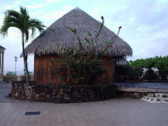 the funky market huts in Raiatea