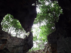 looking up from the cave, we were in the bottom with the dingy