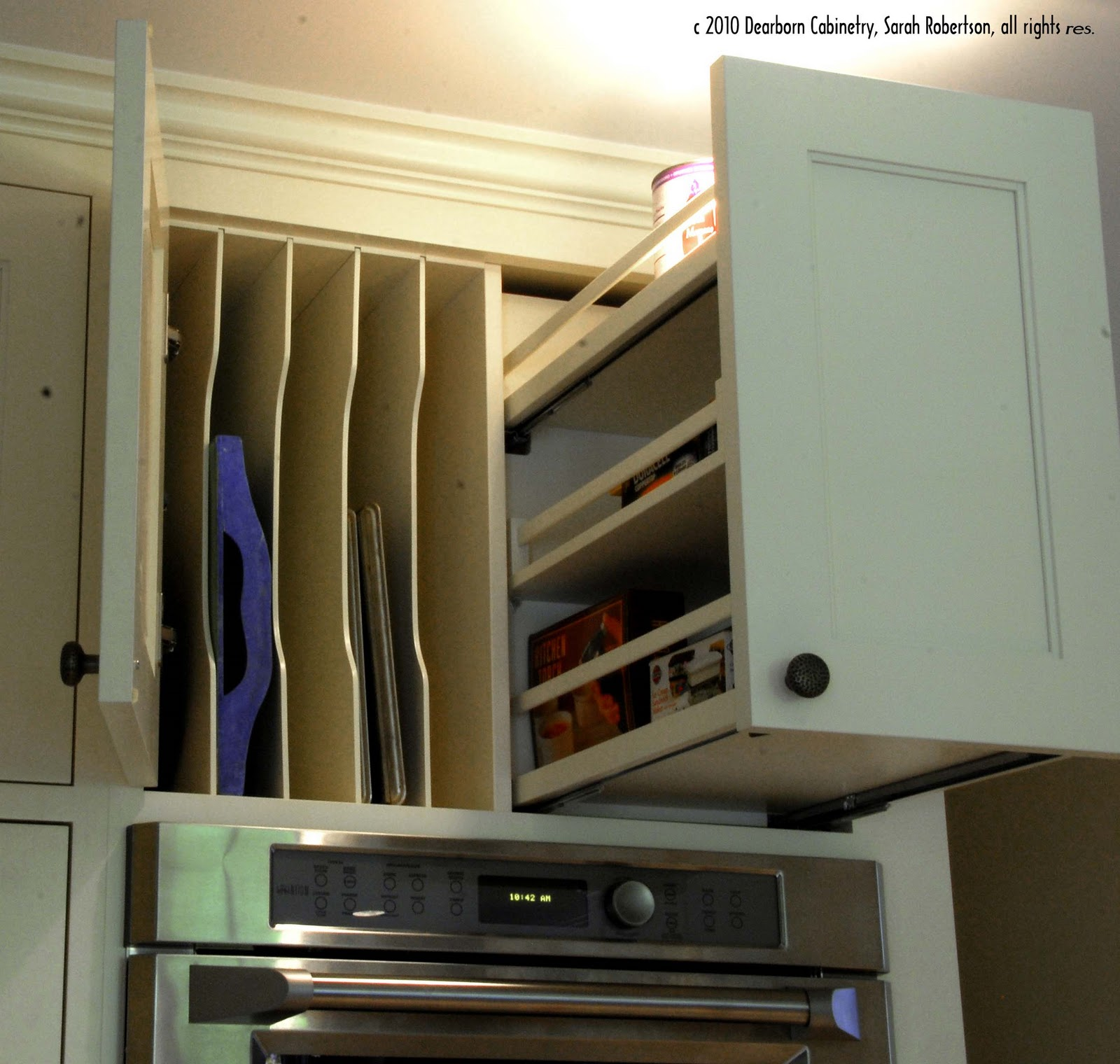 Another Smart Use Of Storage Was This Shallow Wall Cabinet Built Into The Side Oven It Is Used To Organize School Papers And Provide