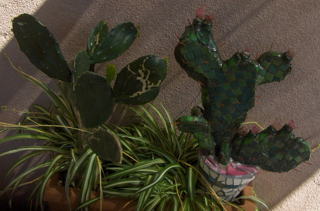 New Cacti Sculpture and Real Cactus