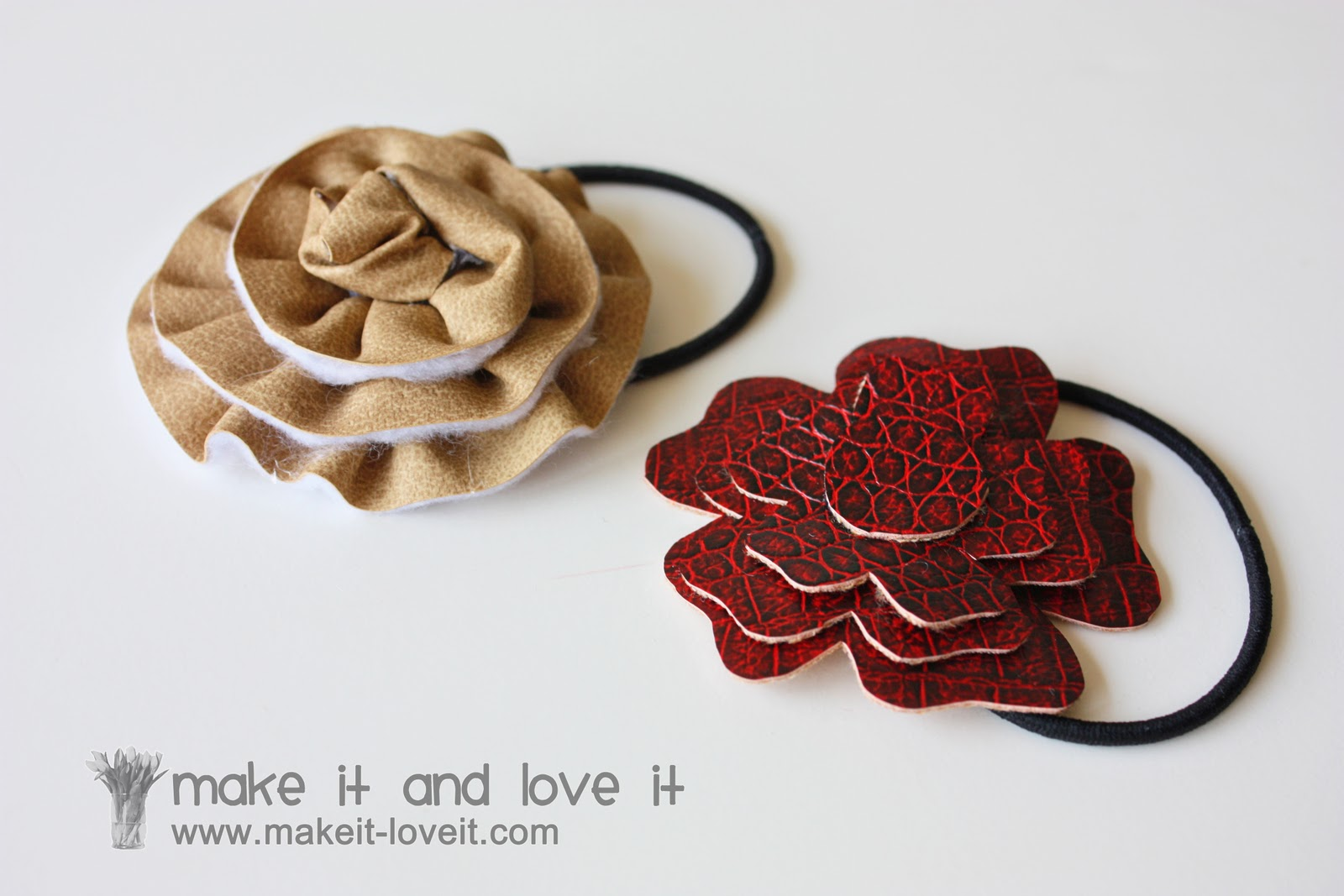 faux leather (ahem, vinyl) hair accessories | make it and love it