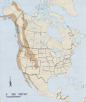 The Dark brown part of the map is the Western Cordillera