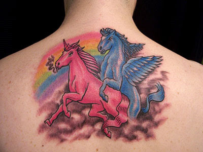 cute back unicorn tattoo design for girl