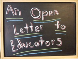 an open letter to educators written on a chalkboard