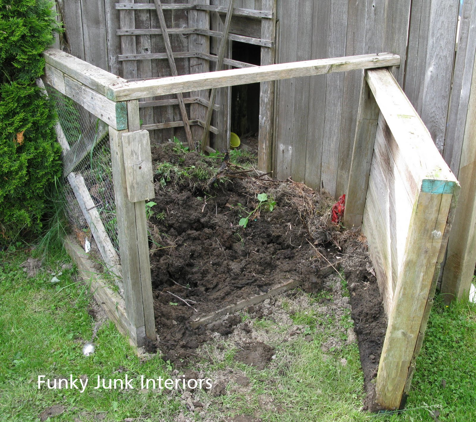 in the garden edging and compost talk funky junk