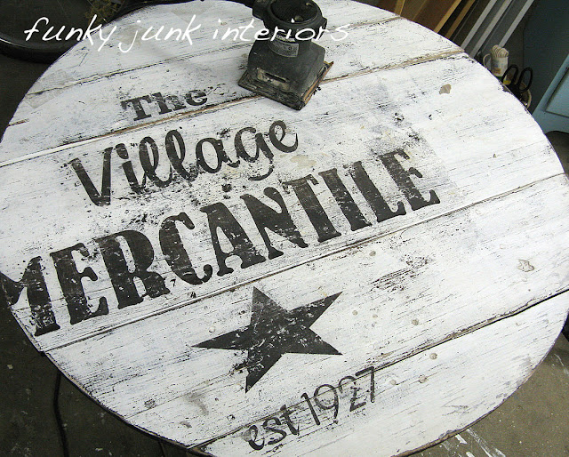 distress painted lettering with a palm sander via Funky Junk Interiors