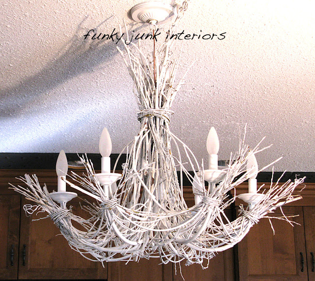 White twig chandelier from willow branches and grapevines - via Funky Junk Interiors
