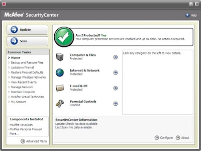 Starting Screen of McAfee Virus Scanner