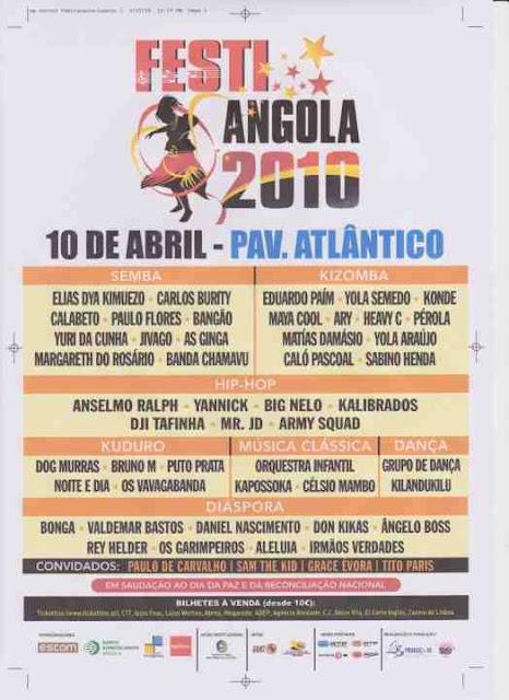 Festi Angola 10 de Abril Lisboa - Pavilhao Atlantico