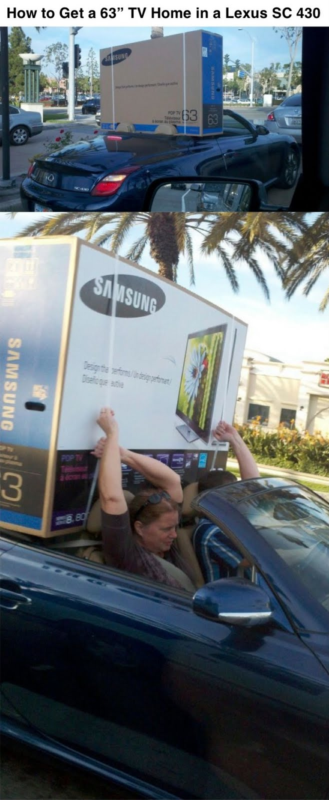 How to Get a 63 TV Home In A Lexus SC 430