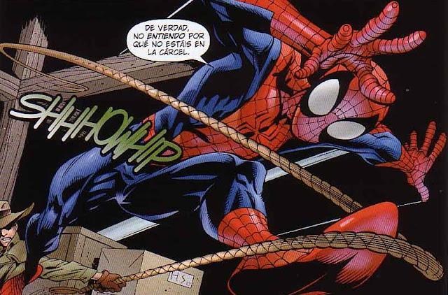 Spiderman recibiendo latigazos