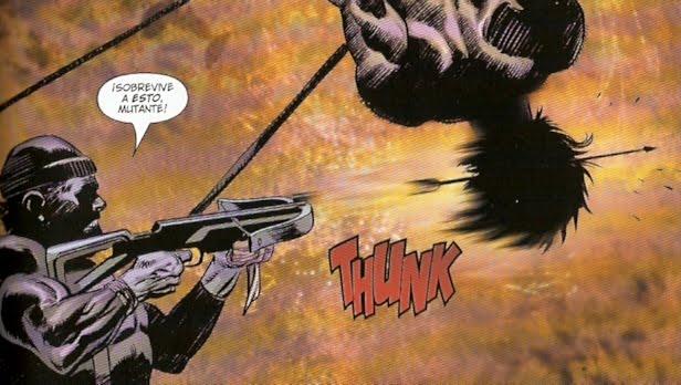 Wolverine traspasado por una flecha a lo S. Sebastian