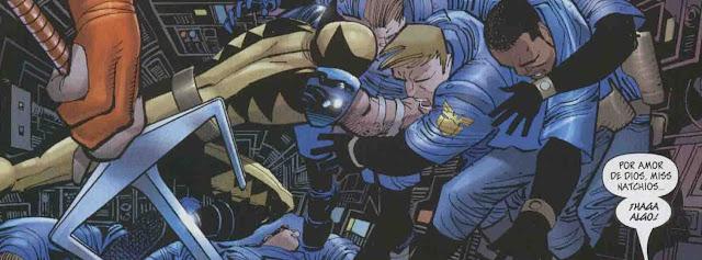 Wolverine repariendo estopa en el helitrasporte