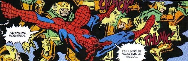 Spiderman tratando los troll a patadas