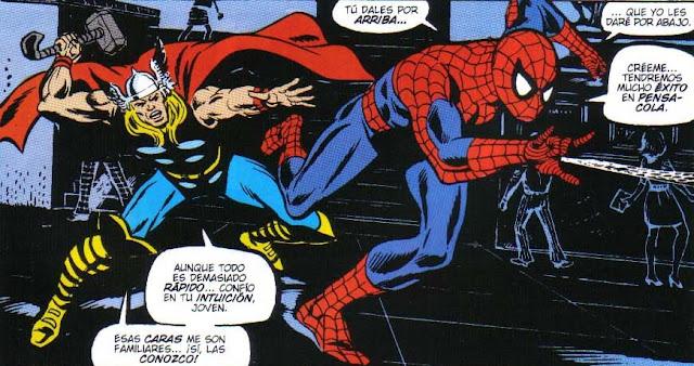 Spiderman a la derecha y thor en la retaguardia
