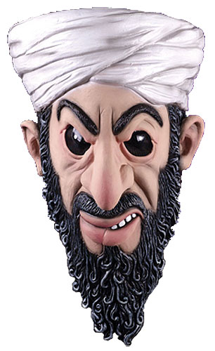 Osama Bin Laden Latex Mask. Osama Bin Laden Mask wearing