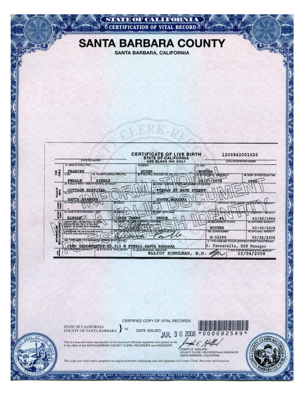 Birth Certificates Orange County