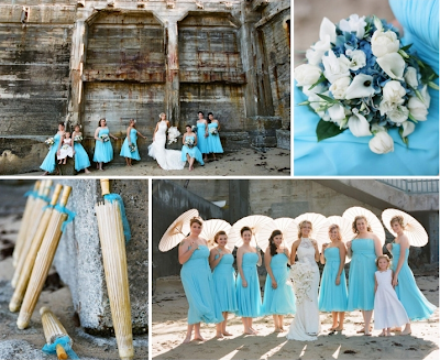 The blue and wood tones color scheme of Erin and George 39s wedding