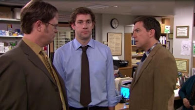 The Dwight Schrute and Andy Bernard duel challenge for Angela