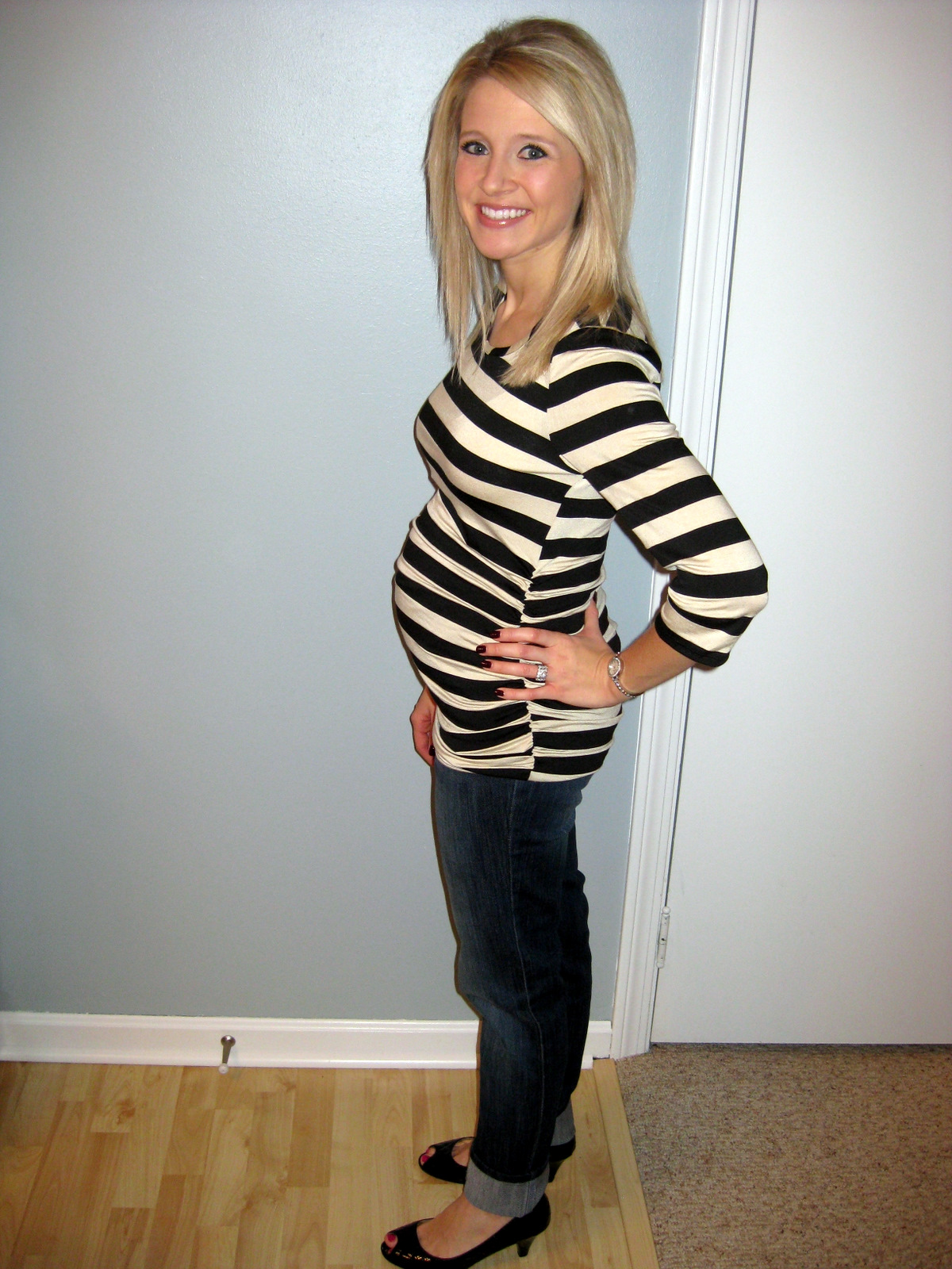 I was just looking back at pictures when I was 15 weeks pregnant with Carter ...