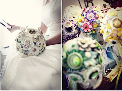 Button bouquet from Etsy shop RBK Productions Via Style Me Pretty