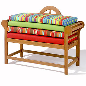 Add bench-length or single cushions to the bench for comfort and color