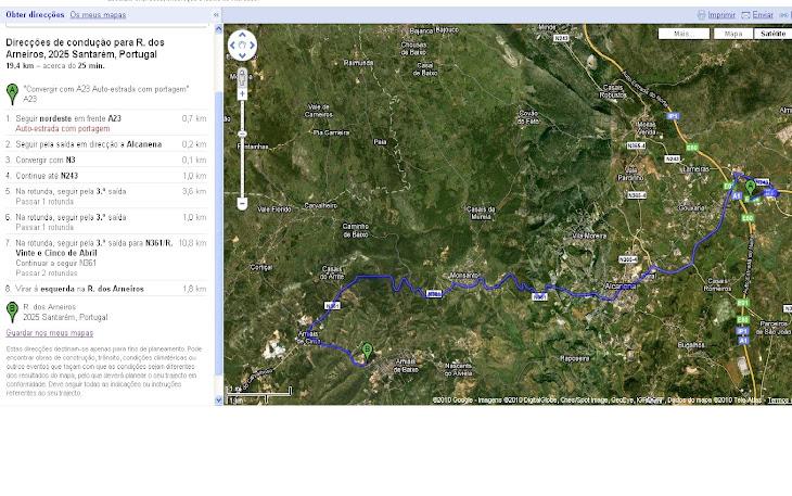 Trajecto da A1 (Saida Torres Novas) para Amiais de Baixo