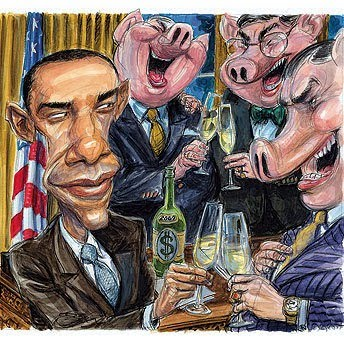Barack Obama and the greedy Wall Street pigs he represents