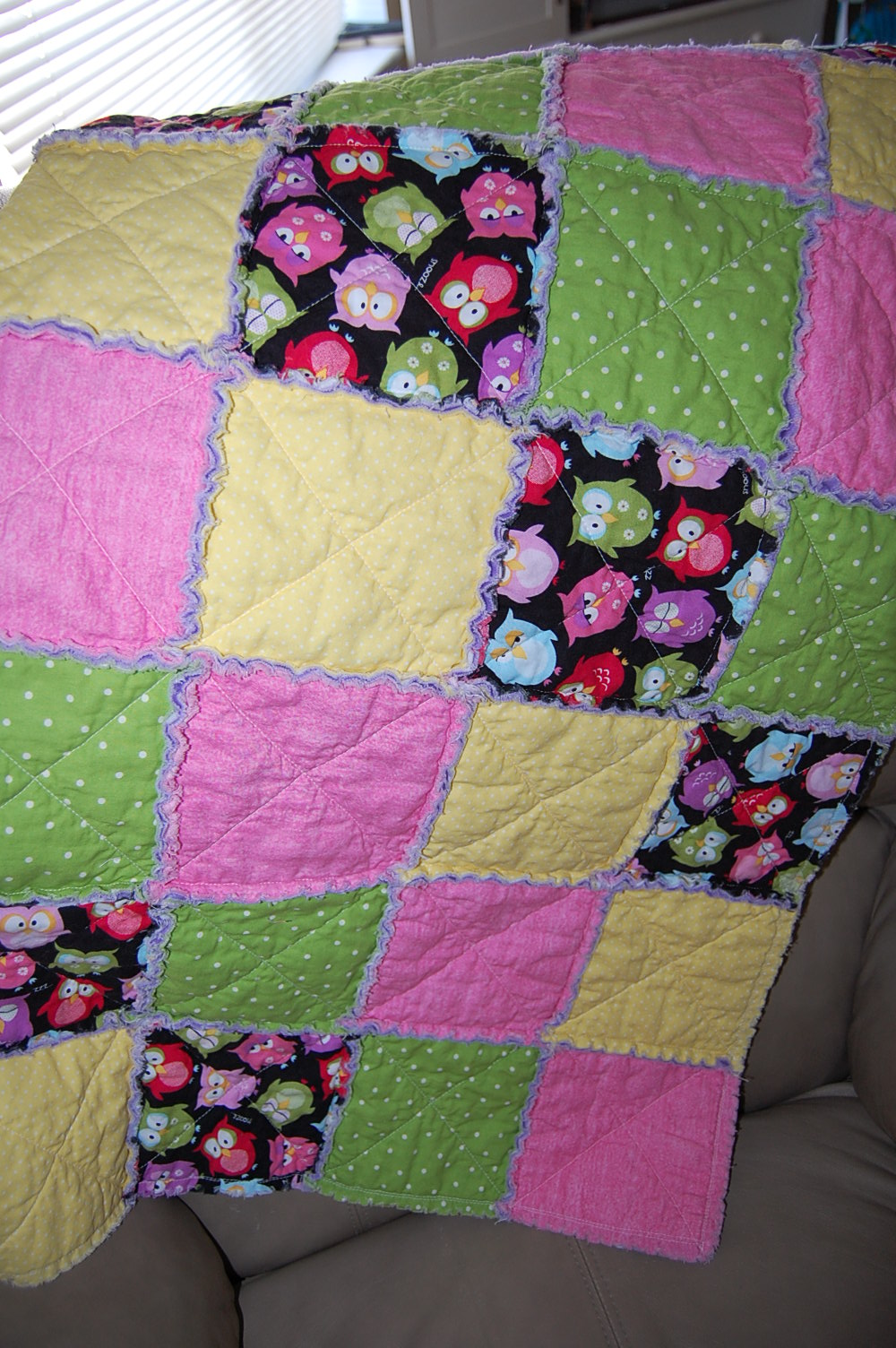 Rag Quilt Owl Pattern : It s all in My Head!: Owl Rag Quilt