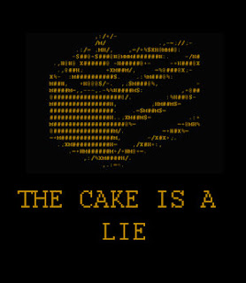 The Cake is a Lie is from the game Portal that my Twins played. They have multiple Tshirts about this game which they bought when we went to Otakon, an anime convention in Baltimore last month.