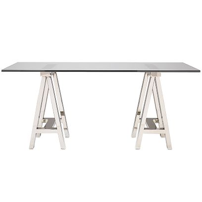 glass top desk. Home Mason Glass Top Desk:
