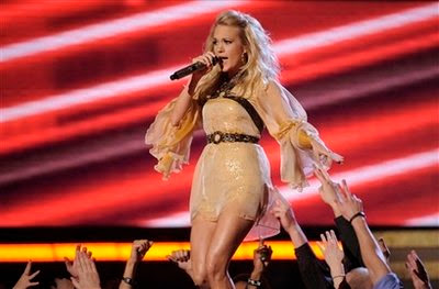 Carrie Underwood performs at the 51st Annual Grammy Awards on Sunday, Feb. 8, 2009, in Los Angeles. (AP Photo/Mark J. Terrill)