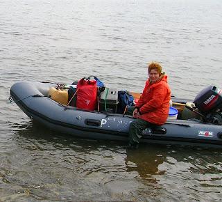 Dr. Irina Utekhina in loaded boat