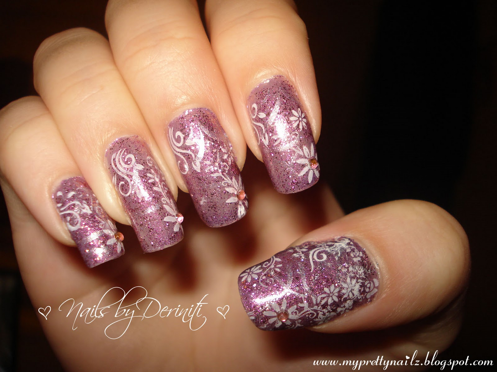 My pretty nailz glittery purple nails with flowers nail art glittery purple nails with flowers nail art design purple nails purple and white nail art floral nail art flower nail art girly nail art prinsesfo Images