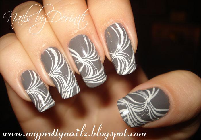 My Pretty Nailz: Gray & White Konad Nail Art Design