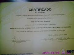 Certificado do Curso de Radialista