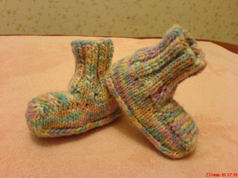Вязаные носочки-пинетки