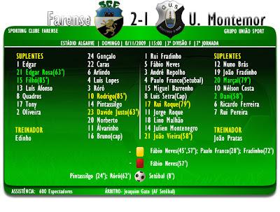 Farense 2-1 U.Montemor  Ficha de jogo