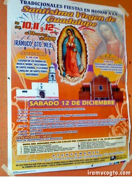 Programa de la fiesta en honor a la Virgen de Guadalupe (2009) en iramuco gto