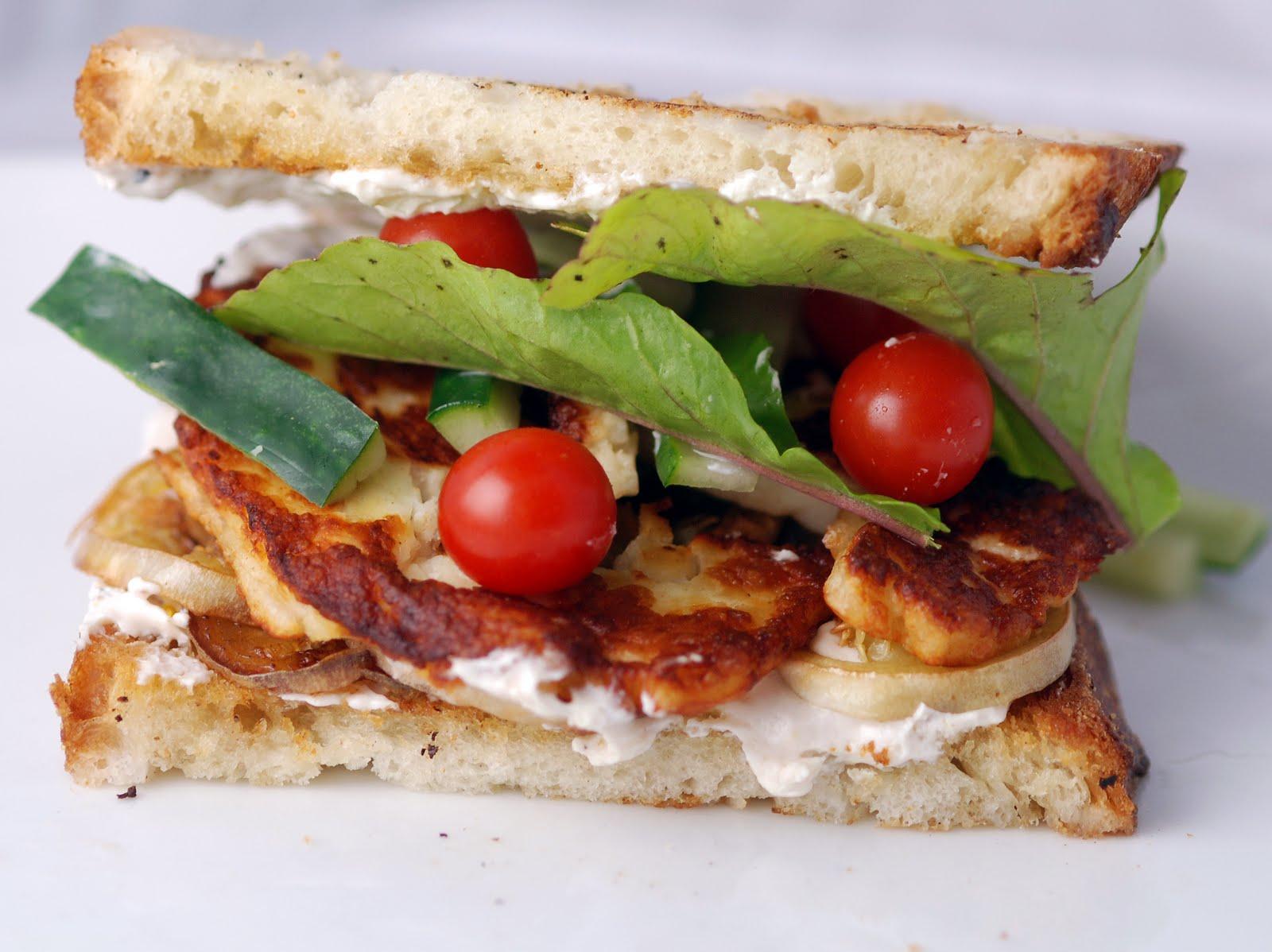 Grilled Eggplant, Haloumi and Arugula Sandwich with Yogurt Tahini ...
