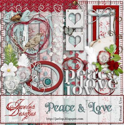 "Scrapbook Freebie Kit  ""PEACE & LOVE"" from Jaelop Designs"