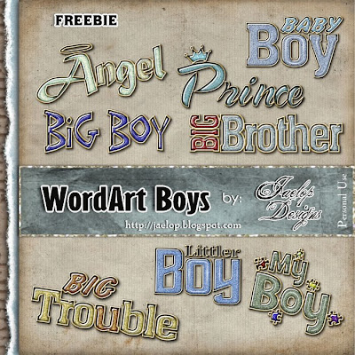 "Scrapbook Freebie Kit  ""Boys"" from Jaelop Designs"