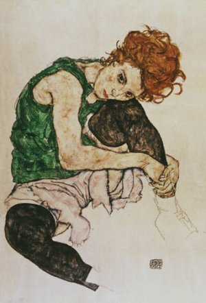 Sitting Woman with Legs Drawn Up- Shiele