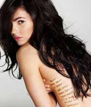 side tattoos. Megan fox letter tattoo