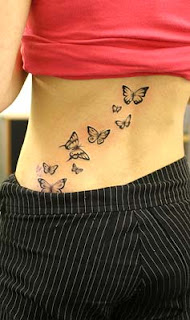 sexy girl with butterfly tattoos design on the back body