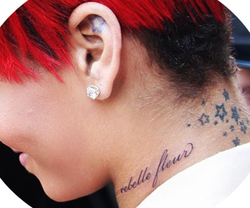 "Rihanna new neck tattoo ""french tattoo slogan"""